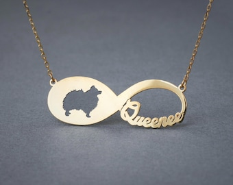 14k Solid Gold Personalised INFINITY POMERANIAN Necklace - 14k Gold Pomeranian Necklace - Name Necklace