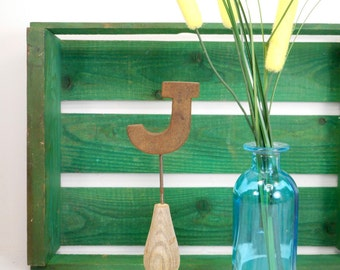 Vintage Wood Letter J on Architectural Salvage Pedestal, Initial on Victorian Spindle Base, Personalized J