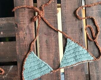 Dusty Blue and Copper Bra Top - Bikini Top - Size Small