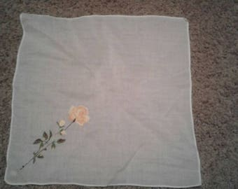 Vintage Hand Embroidered Handkerchief Yellow Rose