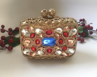 Gold crystal clutch