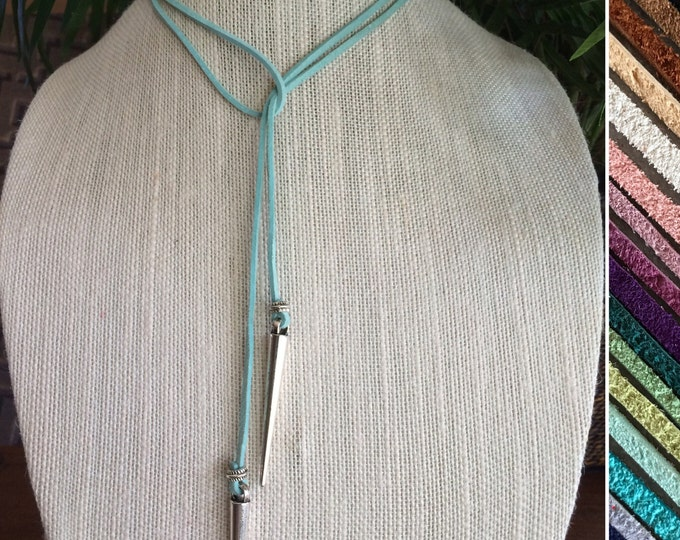 Turquoise Choker Necklace Leather Choker Vegan Suede Tie Necklace Boho Choker Bridesmaids Jewelry Spike Bohemian Gift Festival Gift under 25