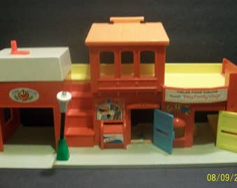 Fisher Price Little People  Play Family Village Theater, Fire Station, Post Office ,Theater One Building Playset #997