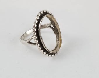 Silver ring setting oval setting with onyx stone sterling silver ring setting ladies ring blank ring base LL1356