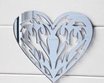 Tribal Tatoo Love Heart Acrylic Mirror