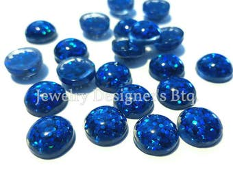 10pcs 12mm Deep Blue Glitter Resin Dome Metallic Cabochons DIY Cabochon Jewelry Supply Jewellery Supplies Mermaid Earrings Cameo Bezel