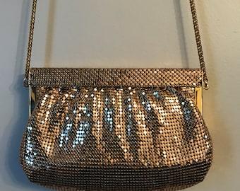 Vintage Handbag- Vintage Whiting & Davis 1920s Style Gold Coin Mesh Evening Bag