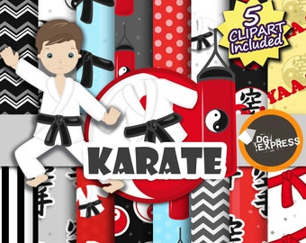 "Karate Clipart + Digital Paper : ""Karate digital Paper""- Asian Clipart, Karate Clipart, Asian clipart, Karate paper"