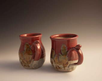 Small Red Ceramic Hand Thrown Mugs with thumb rest