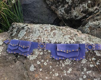 ONE ONLY purple leather festival nomad belt with 5 pockets hippie psytrance  festival