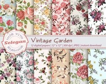 """floral digital paper """" Vintage Garden """" vintage flowers,floral background,flower seamless pattern,digital flowers scrapbook,wedding, blossom"""