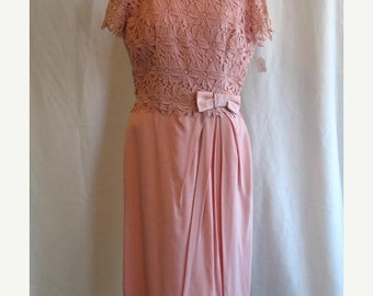 On Sale 1960's Formal Bridesmaid Dress Rose Lace Faille