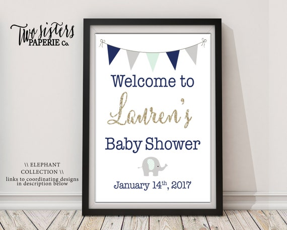 baby shower welcome sign elephant baby shower welcome sign