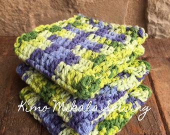 Crocheted Dishcloths - Purple and Green - 100 % Cotton - Set of Three