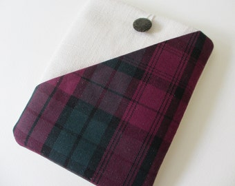 """Tartan case for 6"""" tablets, Kobo Aura pouch, Kobo wallet, Kobo touch case, Kobo glow cover, purple Kindle voyage, Kindle touch cover"""