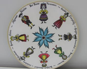 Vintage Kitsch Melamime Cheeseboard depicting folk characters with varieties of cheese Colourful 1970s Dinner Party Serving Tray 1970s Fab