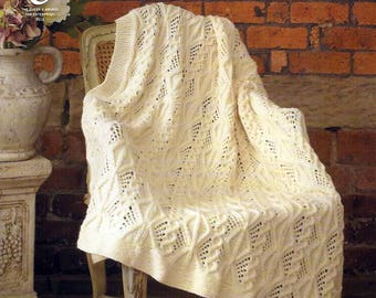 King Cole Knitting Pattern 3458~Cabled Afghan~Aran~55x60""
