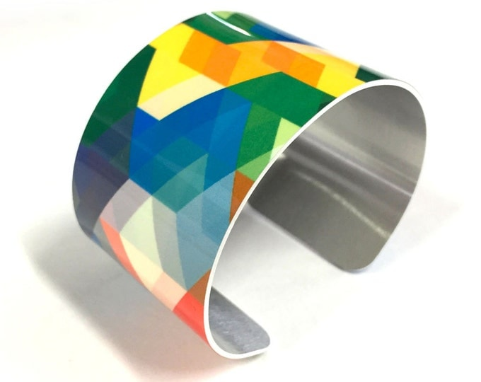 Cuff Bracelet ANGULAR, Aluminum, Jewelry, Customizable, Sublimation, gift for friends