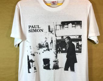 90s Vintage  Tour 1991 PAUL SIMON Born At The Right Time T-shirt Polyester Cotton 50/50 Adult Large Size