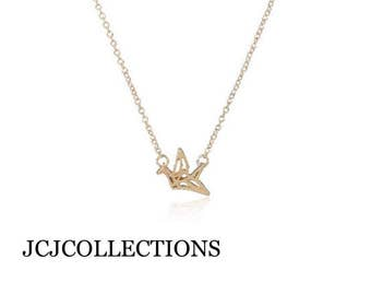 SALE... Origami Crane Necklace, Dainty, Delicate
