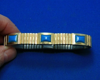 Vintage Aimante Gold Faux Turquoise Magnetic Expansion Bracelet Made in Japan