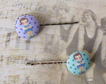 Fabric Hair Pins, Covered Button, Hair Accessories Bobby Pin Hair Clip, Kids Girls Gift, Tales Retro Vintage Style