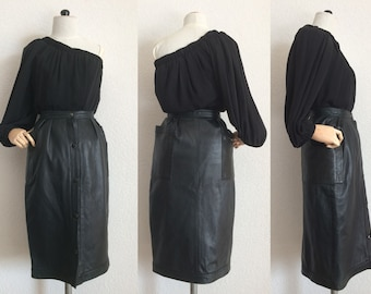 Vintage Anne-Marie Beretta 80's Black Soft Plunged Lambskin High Waisted Midi Skirt With Front Stud Opening