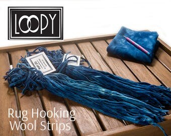 Rug Hooking Wool Strips Blue (Night Sky) Hand Dyed 100% Wool For Rug