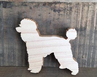 Poodle ornament/magnet - hardwood
