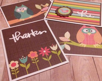 4 Handmade Greeting Cards, Owl Themed