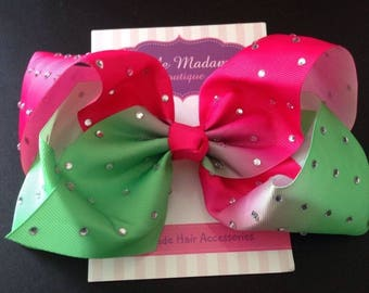 Large crystalised watermelon pink and green, jojo inspired dance bow.8 inch rhinestone bow