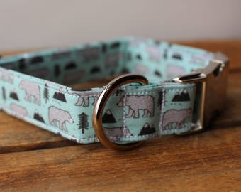 Dog Collar Bears, Mountain Dog Collar, Mountains and Bears Collar, Hipster Dog Collar, Boy Dog Collar, Blue Dog Collar, Wild Dog Collar