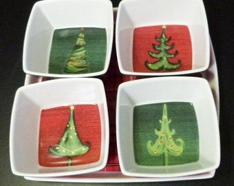 Christmas Hors d'oeuvre dishes, decorated with Christmas trees and tartan.