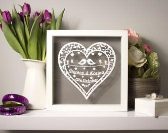 Papercut personalised wedding gift, framed papercut, anniversary gift, personalised papercut gift, framed wedding gift, first anniversary