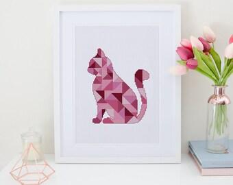 Geometric Cat cross stitch pattern| Modern pink triangle mosaic animal chart| Nursery cute baby silhouette desgin| Instant download pdf