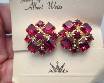 Albert Weiss signed Red Ruby Earrings>> 1950's new old stock, never worn>> Fabulous!>> screw back
