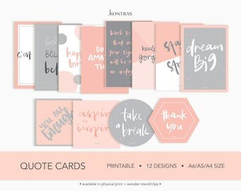 Peach - Quote Cards set of 12 / Motivational Quotes / Print / Vision Board
