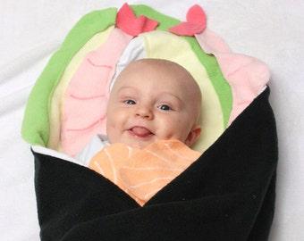 Baby Shower Gift, Sushi Blanket, Baby Blanket, Sushi Cone Baby Blanket, Swaddle Blanket, Funny Baby Shower Gift, Funny Baby Blanket
