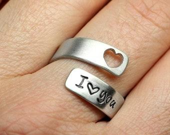925 Silberring I LOVE YOU, Wickelring mit Wunschgravur, gestempelt, Herzchenring