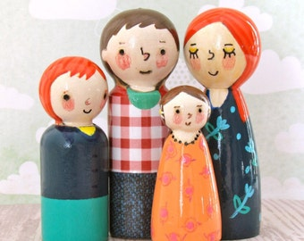 Family Peg Dolls by Walter Silva - Modern trendy Toys - Heirloom Handmade Toys - Doodle Peg Doll Family