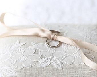 Wedding Bridal Ring Pillow Linen + Vintage Lace | Bride | Wedding | Heirloom | Keepsake | Flower Girl | Page |