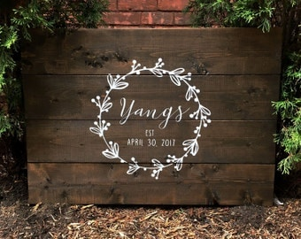Rustic Wreath with Custom Text Wood Guest Book | White on Wood | Custom Name | Calligraphy