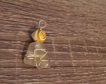 Yellow Sea glass charm