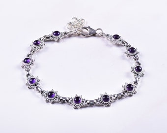 Amethyst Bracelet Natural Amethyst Bracelet Sterling Silver Tennis Bracelet Genuine Gemstone Amethyst Jewelry February Birthstone Bracelet