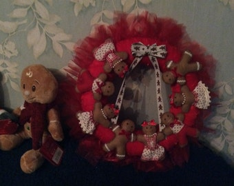 Gingerbread Red Christmas Wreath