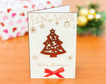 "Wood christmas card, wood greeting card, wood card, christmas gift, wood, card, christmas, gift, wooden,  greeting card ""Christmas tree"" whi"