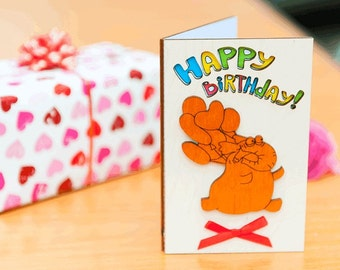 Wood BIRTHDAY card, wood GREETING card, wood greeting card, birthday gift, wood, card, birthday, gift, wooden,  greeting card Elephant white