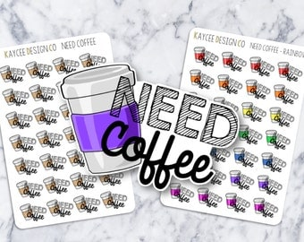 NEED Coffee Stickers / Coffee Addict / Functional / Tracking / Planner Stickers /  Fits Erin Condren & MAMBI / Kikki K / FiloFax
