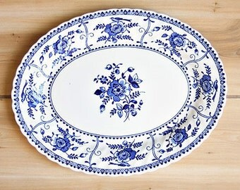"""Vintage Johnson Brothers """"Indies Blue"""" Oval Platter 11 7/8"""" - Blue Platter, Blue Transferware Platter, Decorative Platter, Small Platter"""