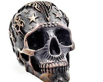 Skull art Skull bronze skull metal skull art day of the dead home decor skull decor dia de los muertos day of the dead art skull artwork